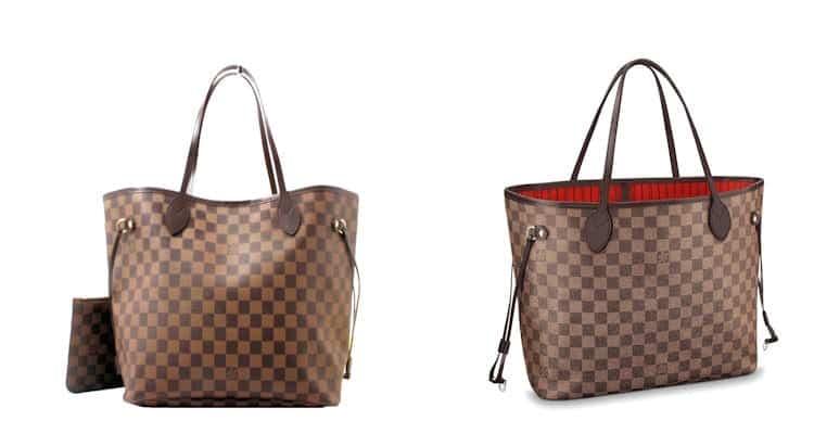 Produkt-Piraterie: Produktfälschung Handtasche LOUIS-VUITTON-Neverfull Fake und Original