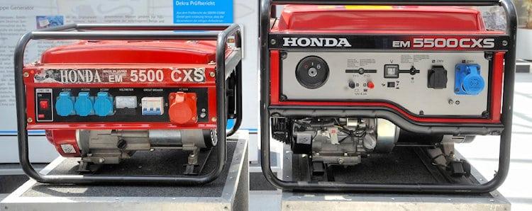 Produkt-Piraterie: Original und Fälschung eines Notstromaggregat Honda EM 5500 CXS