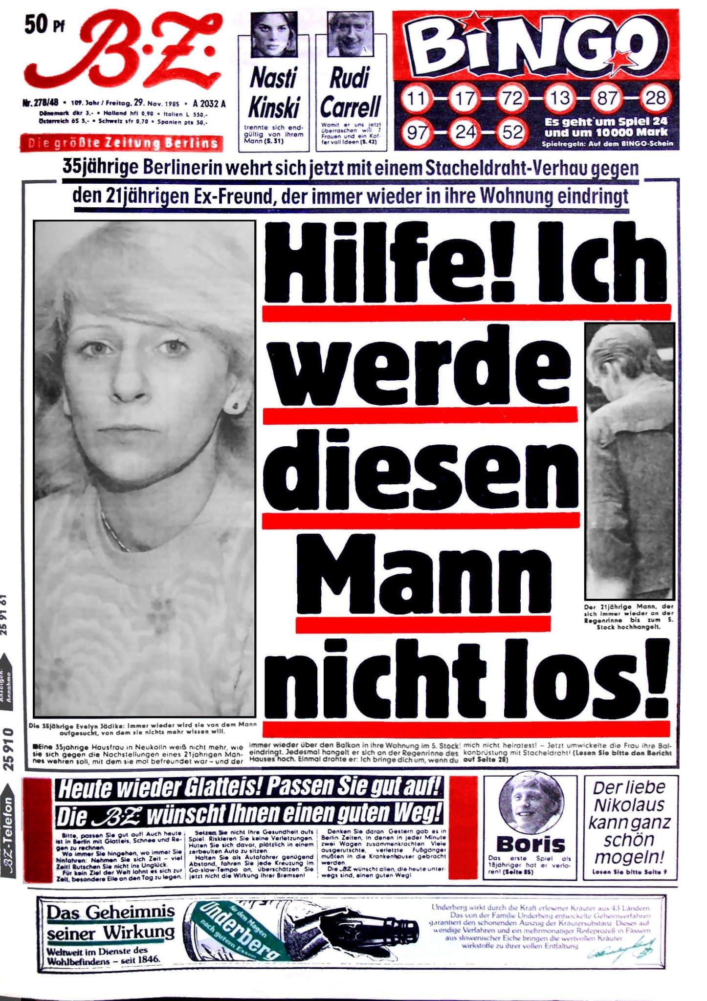 Original BZ-Zeitungsartikel vom 29.11.1985