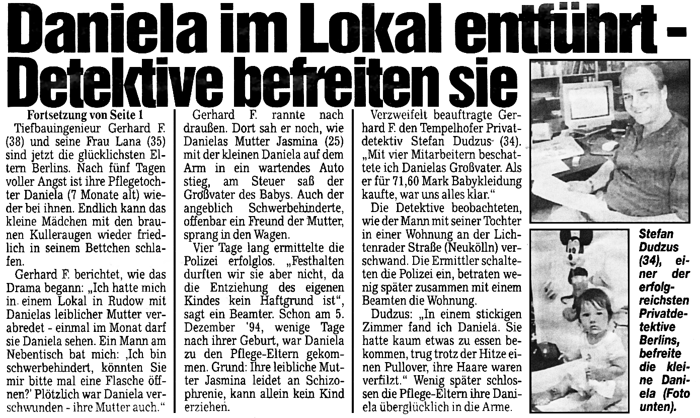Berliner Kurier Hauptartikel vom 23.07.1995 Daniela im Lokal entführt - Tempelhofer Detektei Dudzus befreit das Kind