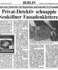 Original Zeitungsartikel Berliner Morgenpost Artikel vom 29.11.1985 Privatdetektiv schnappte Neuköllner Fassadenkletterer