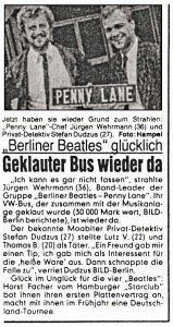 Bild-Zeitung: 23.10.1987 Der Original Zeitungsartikel zum Diebstahl des VW-Busses von Penny Lane